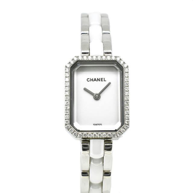 シャネル CHANEL プルミエール ホワイトセラミック H2132 ベゼルダイヤ 19.7×15.2mm USED 中古