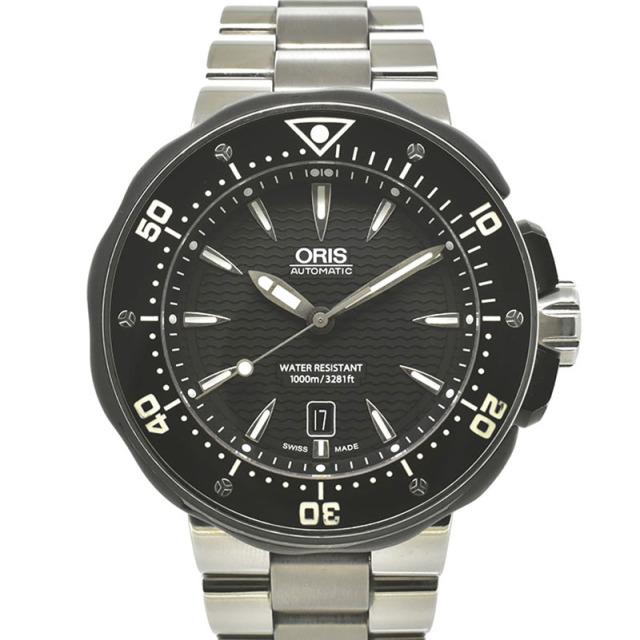 オリス ORIS プロダイバーデイト 733 7646 7154 チタン 49mm ブラック USED 中古