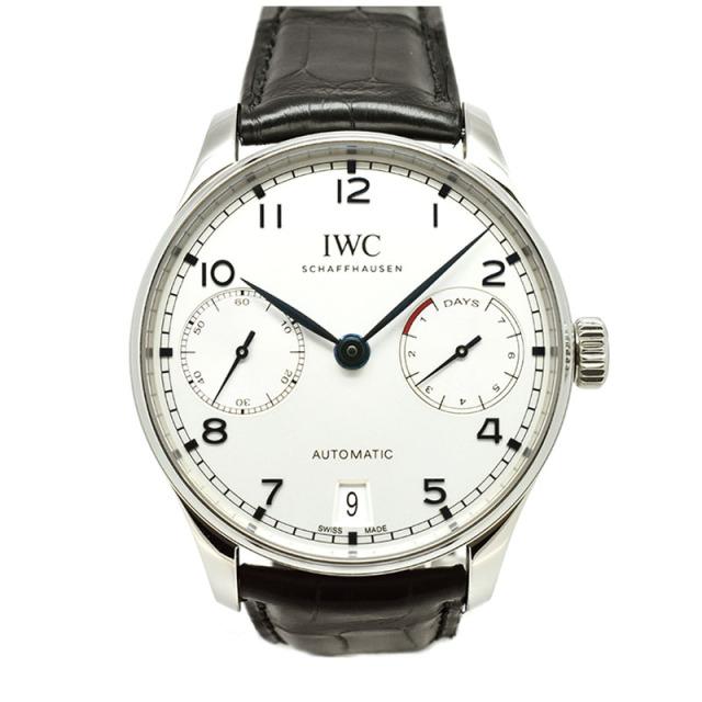 IWC ポルトギーゼ オートマティック 7デイズ IW500705 シルバー 青針 SS 革ベルト 42.3mm USED 中古