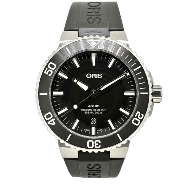 オリス ORIS アクイス デイト 733 7730 4124R ブラック 43.5mm USED 中古