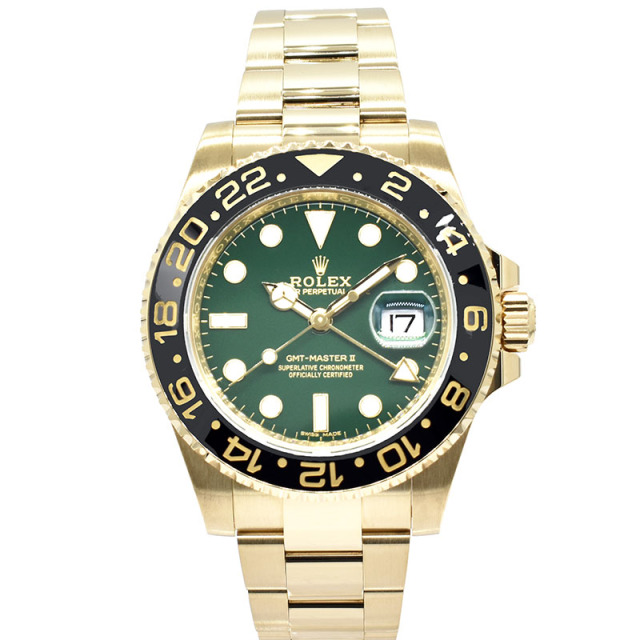 ロレックス ROLEX GMTマスター2 Ref.116718LN グリーン 18KYG 40mm USED 中古