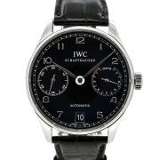 IWC ポルトギーゼ オートマティック 7デイズ IW500109 ブラック 革ベルト 42.3mm USED 中古