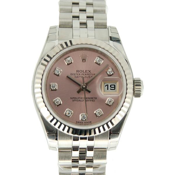 ロレックス ROLEX デイトジャスト 179174G レディース ピンク 10Pダイヤ 新品
