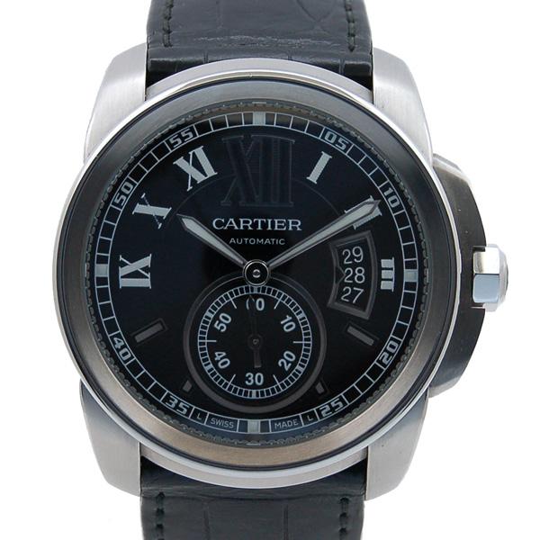 カルティエ CARTIER カリブル ドゥ カルティエ W7100014 SS ブラック メンズ 自動巻 革ベルト USED 中古