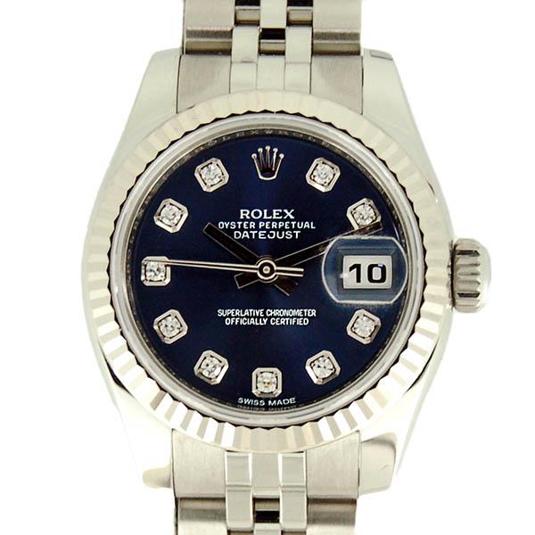ロレックス ROLEX デイトジャスト 179174G レディース ブルー 10Pダイヤ SS/WG 未使用品