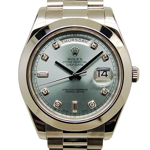 wholesale dealer c9ec7 66704 ロレックス ROLEX デイデイト2 218206A ダイヤモンドインデックス アイスブルー プラチナ 41mm V番ルーレット USED 中古