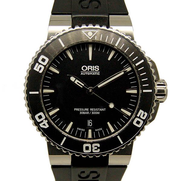 オリス ORIS アクイス デイト 733 7653 4154 SS ブラック ラバーベルト USED 中古