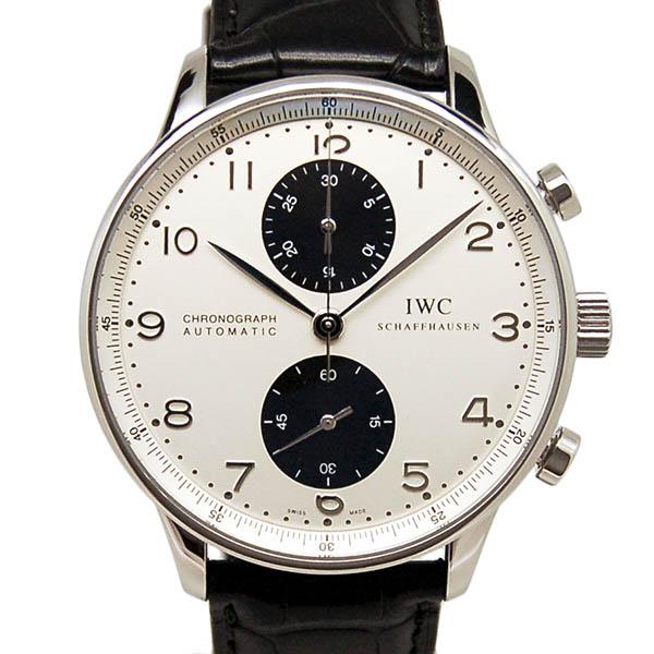 IWC インターナショナルウォッチカンパニー ポルトギーゼ クロノグラフ IW371411 シルバー/ブラック 自動巻 革ベルト USED 中古