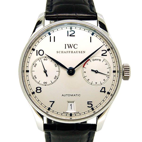 IWC ポルトギーゼ オートマティック 7デイズ IW500107 シルバー 青針 SS 革ベルト USED 中古
