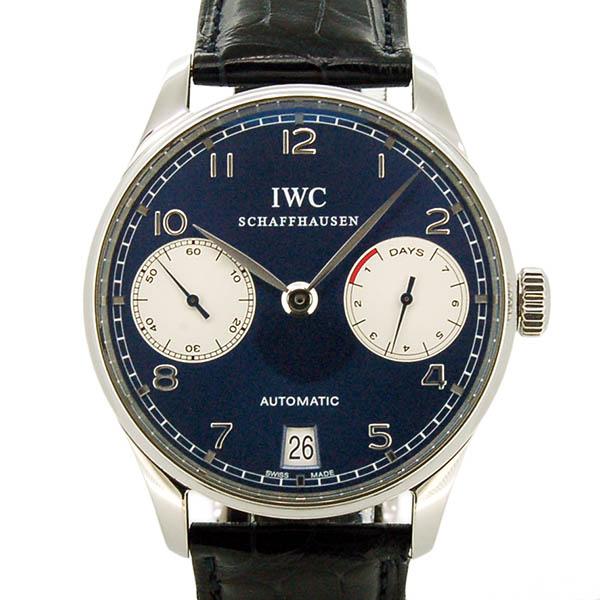 IWC ポルトギーゼ オートマティック 7デイズ ローレウス IW500112 世界1000本限定 ブルー SS 革ベルト 42.3mm USED 中古