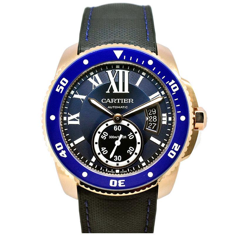 カルティエ CARTIER カリブル ドゥ カルティエ ダイバー WGCA0009  ピンクゴールド ブルー 42mm USED 中古