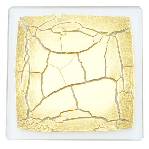 箔ガラスコースター 金