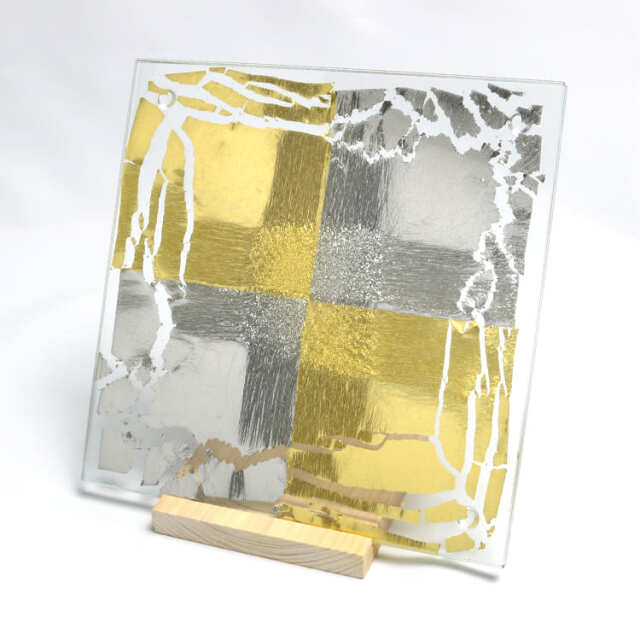 箔ガラス 四角トレー 市松 金・プラチナ