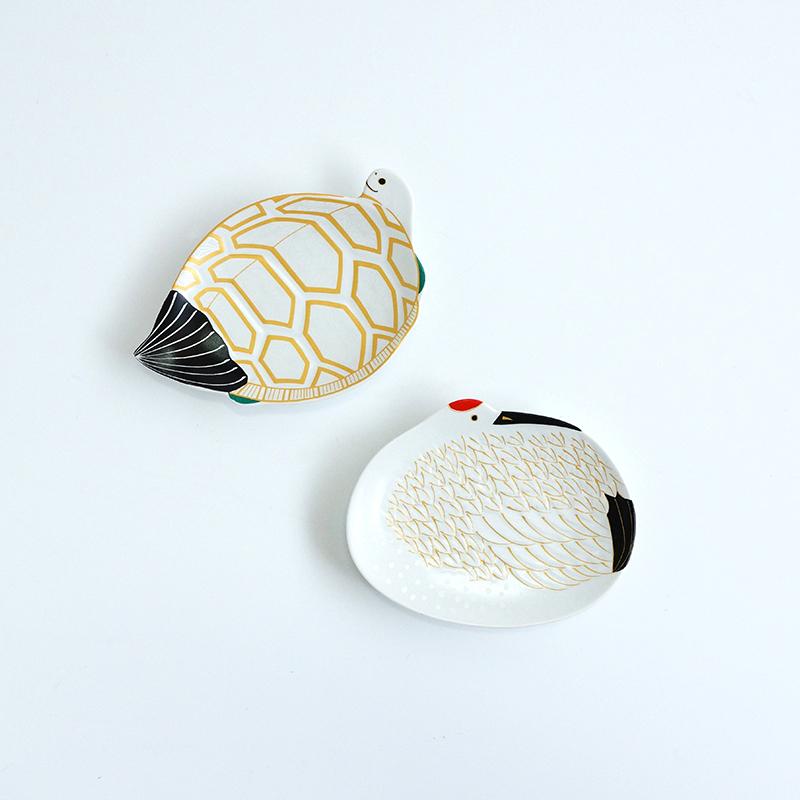鶴亀銘々皿