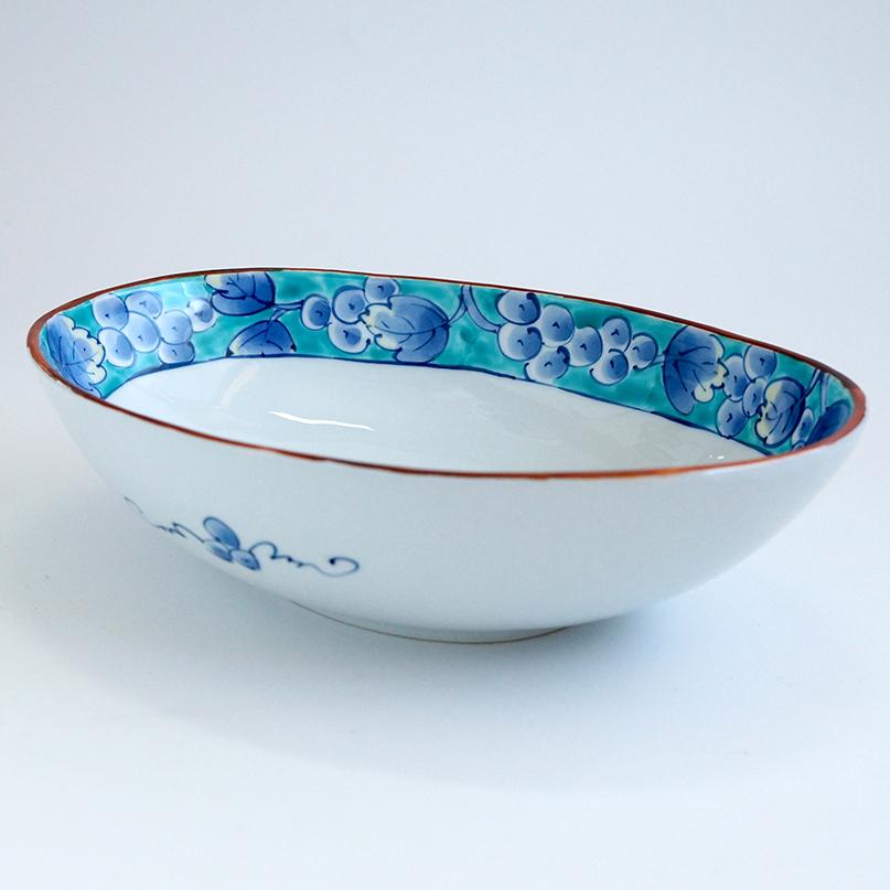 染錦ぶどう 楕円鉢