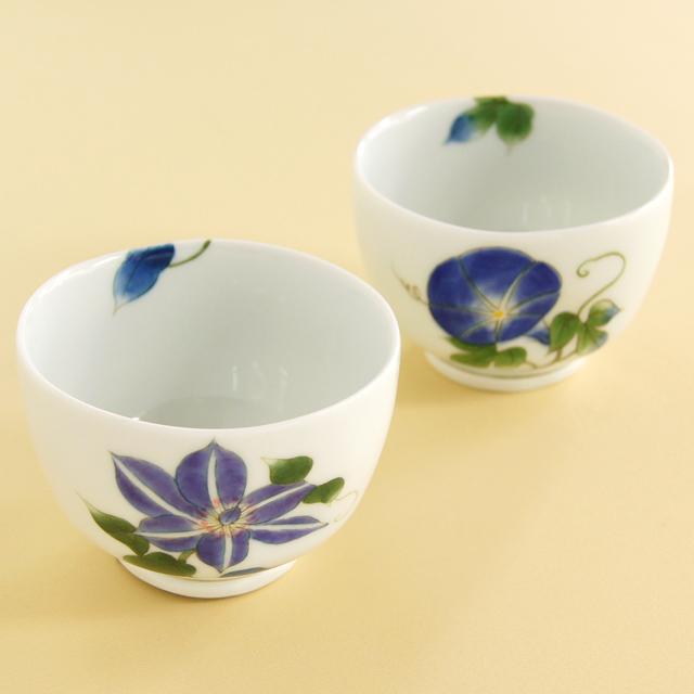 【和食器通販 金照堂】劉美窯 お福碗(鉄線花・朝顔)