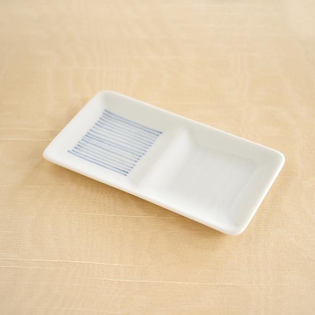 【和食器通販 金照堂】陶房青 線彫市松二品盛