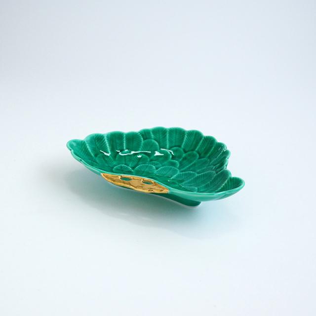 金彩緑交趾 松型銘々皿