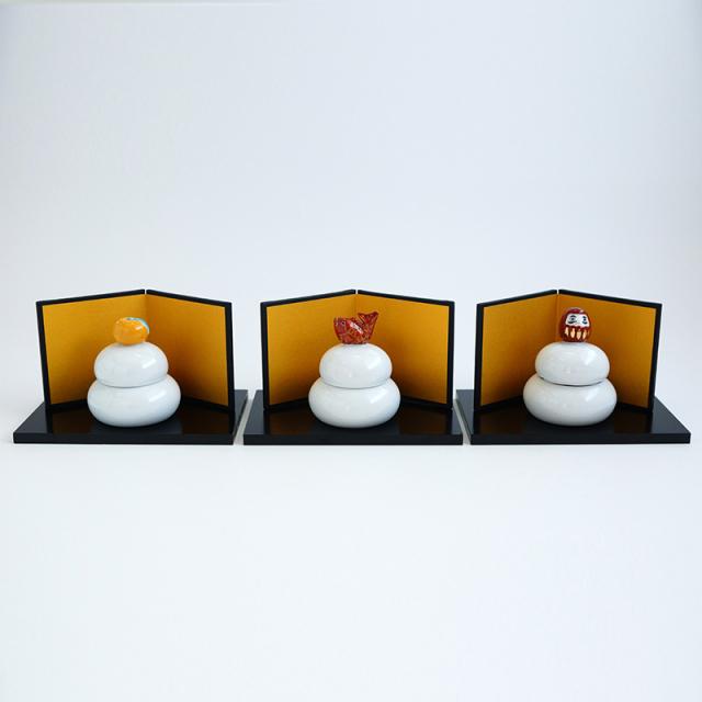 鏡餅蓋物 (金屏風・木台付)