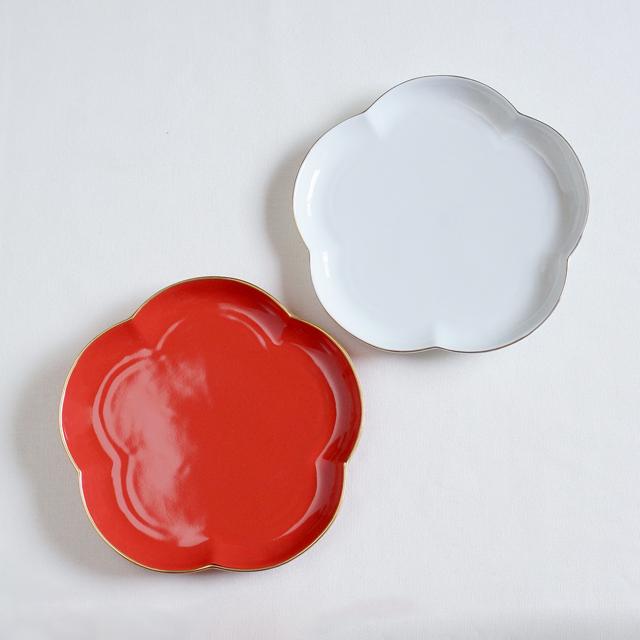 【和食器通販 金照堂】 フロール 梅 紅白 お皿 花形皿 プレート