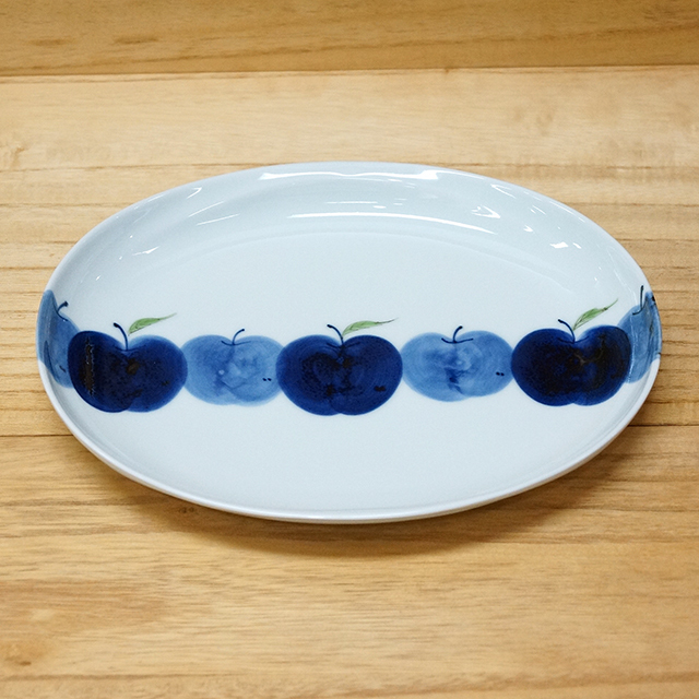 波佐見焼 敏彩窯 りんご園 楕円皿 丸皿 リンゴ 【和食器通販 金照堂】