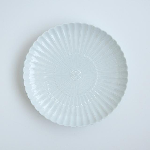白磁菊彫 8寸皿