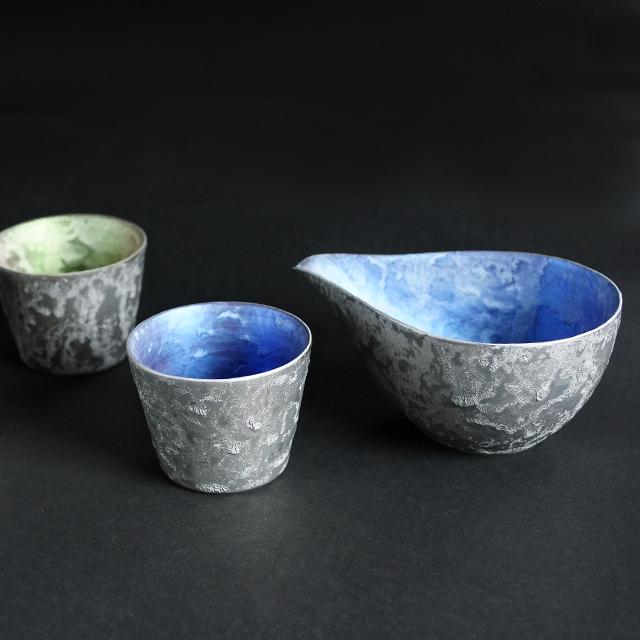 【和食器通販 金照堂】  麟 Lin(りん) プラチナ酒カップ(3色)