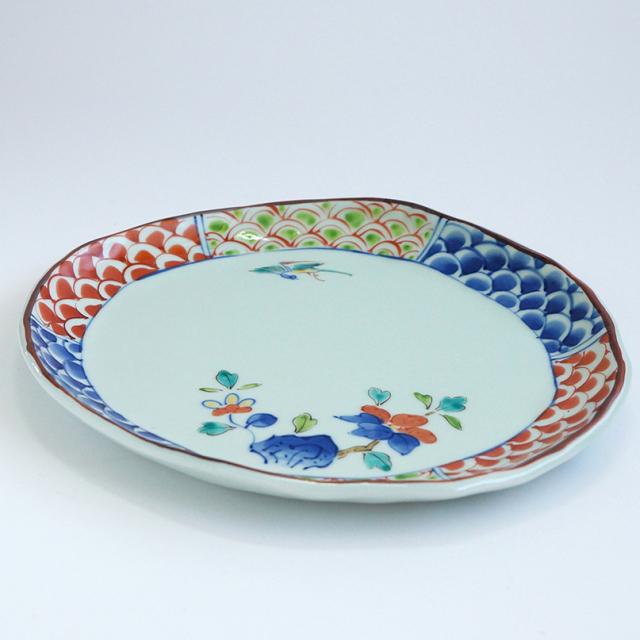 青海波椿 楕円盛皿