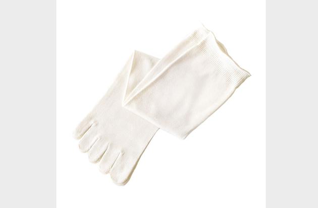 シルク5本指靴下/白