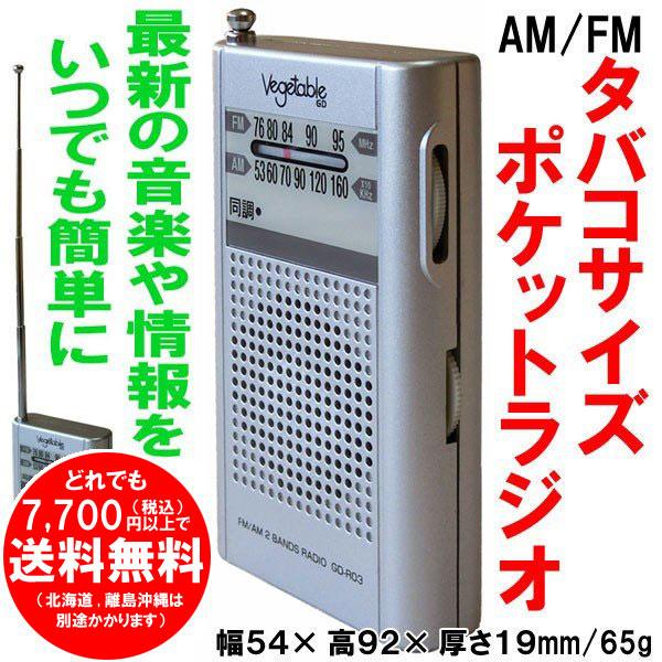 AM/FM ポケットラジオ GD-R03 ベジタブル 簡単操作 ご年配にも 災害時等非常用にも [f]