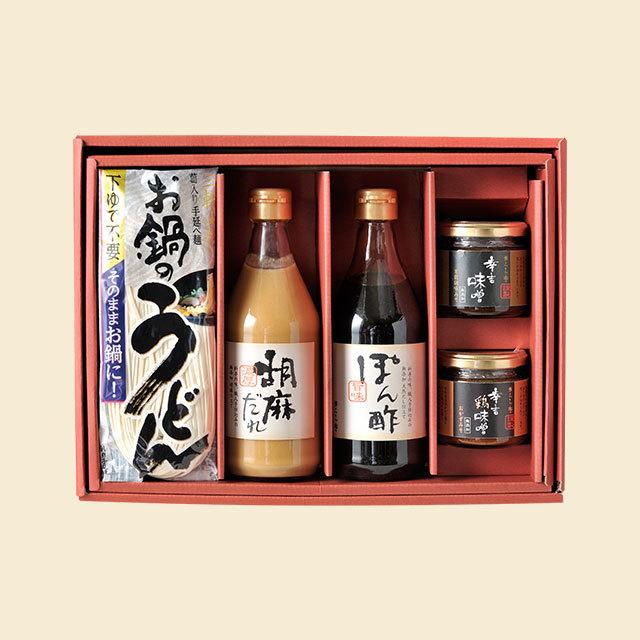 KM-074E きらら亭手仕込み特製調味料+お鍋のうどんセット