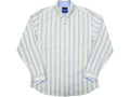 コットン&シルクのストライプ長袖シャツ