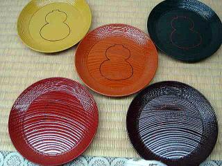 欅 五色銘々皿 瓢