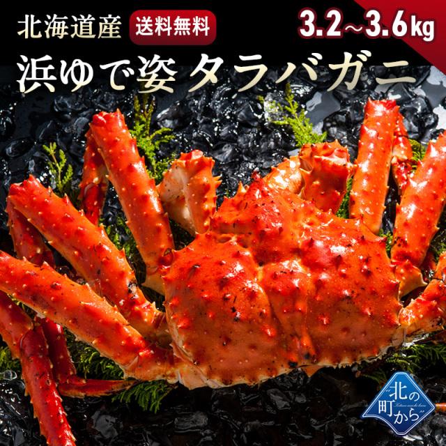 タラバガニ 北海道・オホーツク海産 【浜茹で急速冷凍 姿】 3.2kg~3.6kg 栄養価の高い身の引き締まったタラバガニ たらばがに 蟹 カニ かに