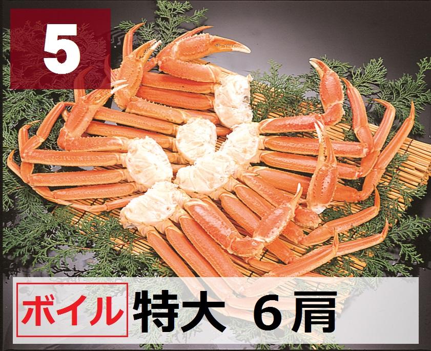 5)極上ボイル本ズワイガニ 特大サイズ 6肩 約2.1kg