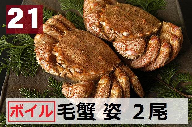 21) 極上ボイル毛ガニ姿  2尾  約900g(450gx2尾)