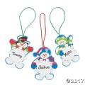 [12個組]【子どもクリスマス工作キット16】 名前が書ける・スノーマン スノーフレーク オーナメントキット