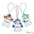 [12個組]【子どもクリスマス工作キット15】 名前が書ける・スノーマン スノーフレーク オーナメントキット