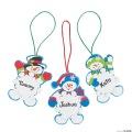 [12個組]【子どもクリスマス工作キット23】 名前が書ける・スノーマン スノーフレーク オーナメントキット