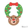 [12個組]【子どもクリスマス工作キット11】 トナカイ リースドアハンガーキット