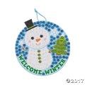 [12個組]【子どもクリスマス工作キット22】 スノーマン グリッターモザイクサインキット