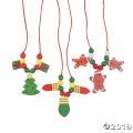 [12個組]【子どもクリスマス工作キット12】 クリスマス ウッドビーズ ネックレスキット