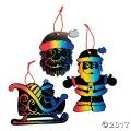 [24個組]【子どもクリスマス工作キット20】 マジック カラースクラッチ サンタ オーナメント