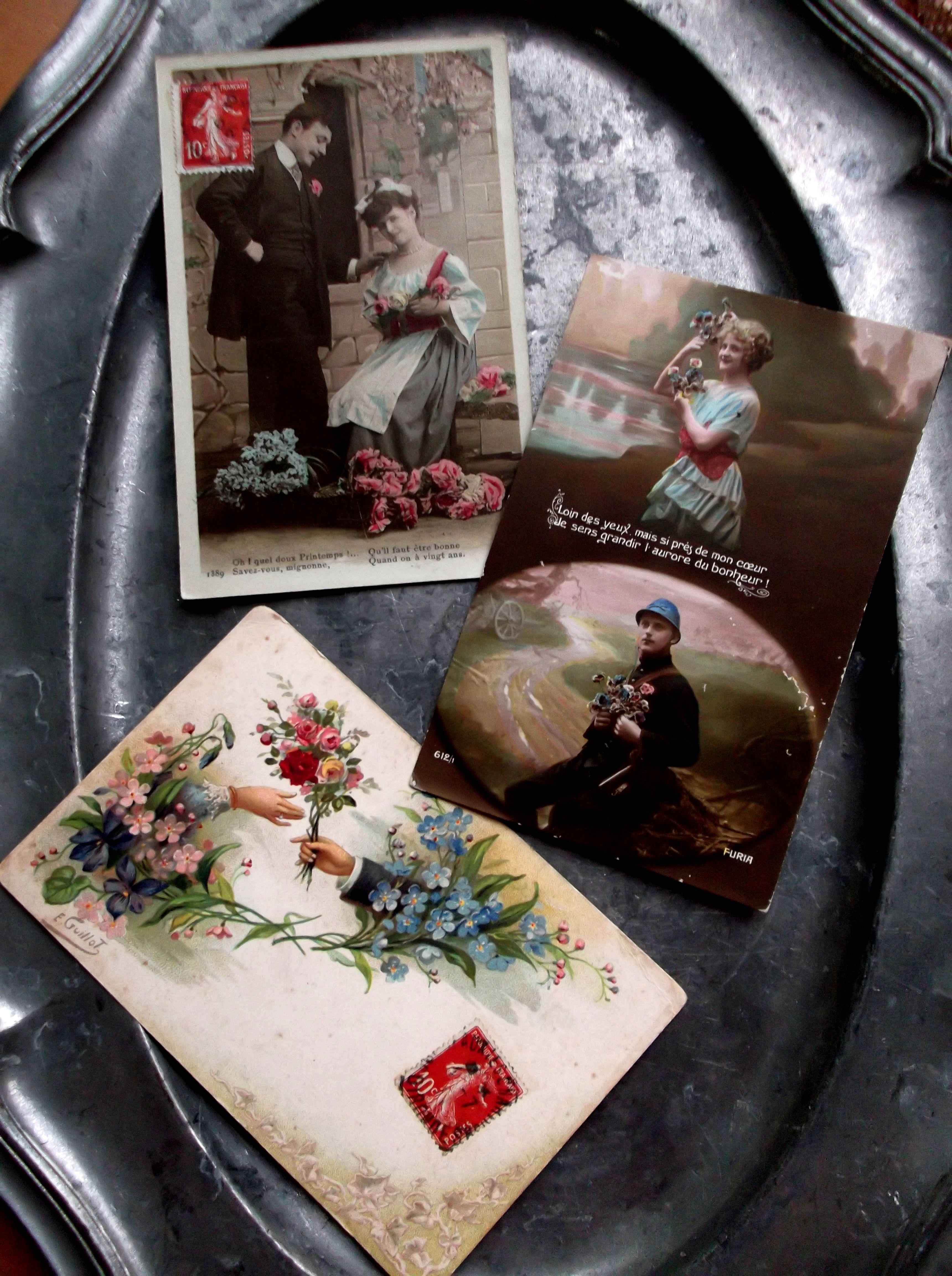 フランスアンティーク ポストカード3pセット A 1910年代
