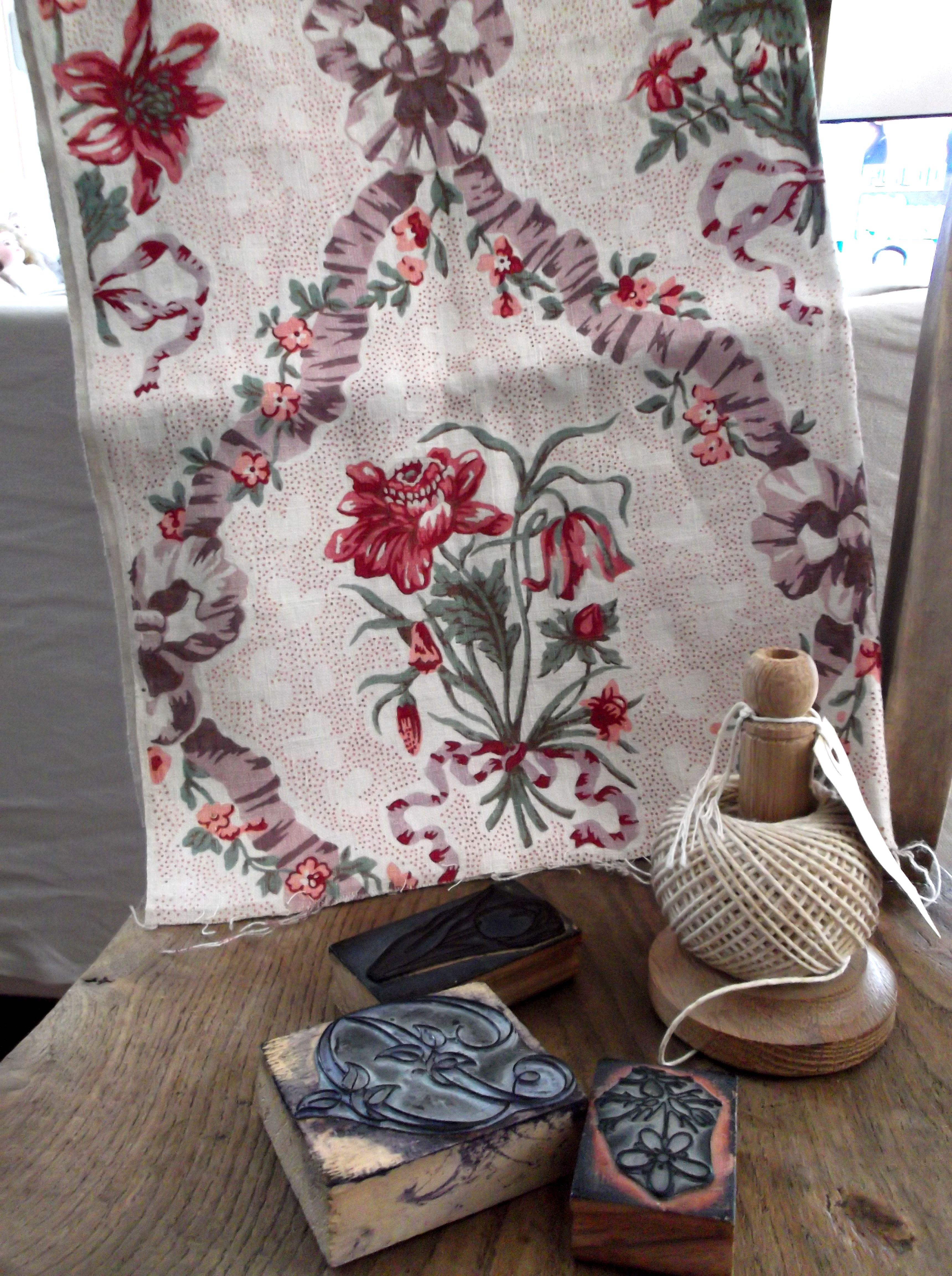 フランスアンティーク リボン&花柄リネンファブリック