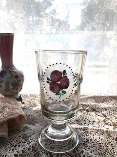 フランスアンティーク 手描きお花のグラス 1920年代