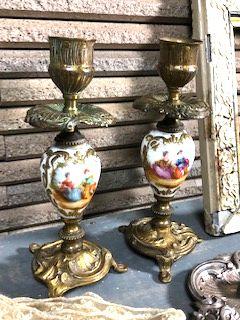 フランスアンティーク ナポレオン3世手描きペアキャンドルスタンド ブロンズ&陶器
