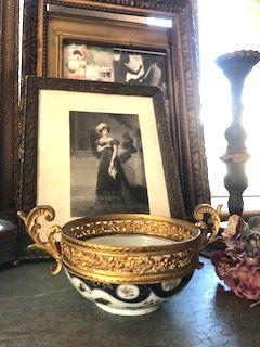 フランスアンティーク 真鍮&陶器手描きペイントボウル