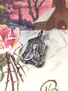 フランスアンティーク 聖母マリアメダイ 釣鐘型