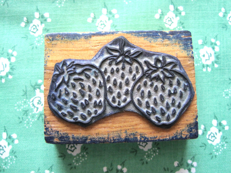 フランスアンティーク 果物スタンプ イチゴ